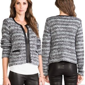 Joie Jacolyn Knit Sweater Leather Trim Jacket